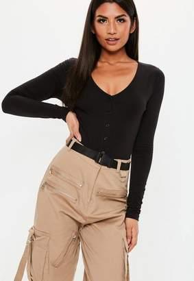 Missguided Black V Neck Button Front Bodysuit