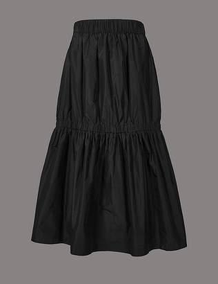 Marks and Spencer Taffeta Drop Waist Full Midi Skirt