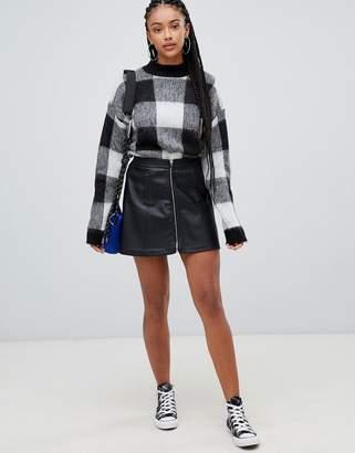 Bershka zip front pu skirt