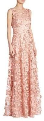 Theia Appliquéd A-Line Gown