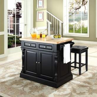 """Crosley Furniture Butcher Block Top Kitchen Island with 24"""" Upholstered Square Seat Stools"""