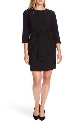 Vince Camuto Belted Stretch Crepe Dress