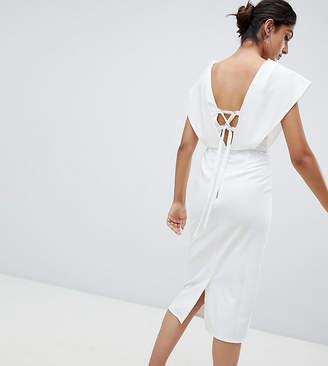 Asos Tall TALL Origami Wrap Pencil Dress with Lace Up Back