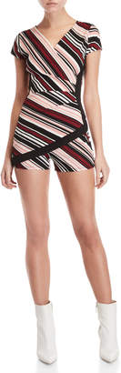 Almost Famous Printed Faux Wrap Romper