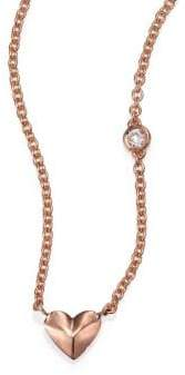 Sydney Evan Diamond& 14K Rose Gold Mini Heart Charm Necklace