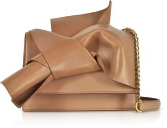 N°21 Camel Leather Small Bow Bag w/Shoulder Strap