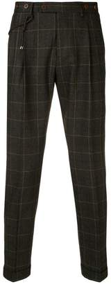Berwich tartan pattern tapered trousers