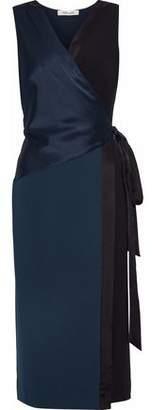 Diane von Furstenberg Paneled Satin And Crepe Wrap Dress