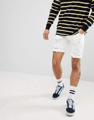 Asos Design DESIGN denim shorts in skinny white with heavy rips