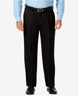 Haggar J.M. Men's Big & Tall Classic-Fit Stretch Sharkskin Pleated Dress Pants