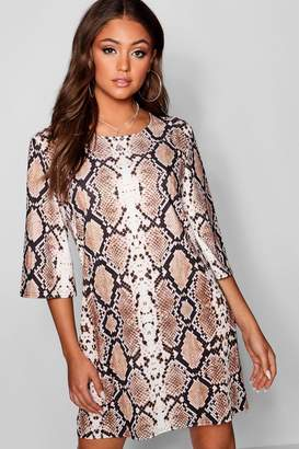 boohoo Snake Print Boxy Sleeve Shift Dress