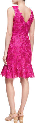 Monique Lhuillier Floral Guipure Lace Sleeveless Flounce Dress, Bright Pink