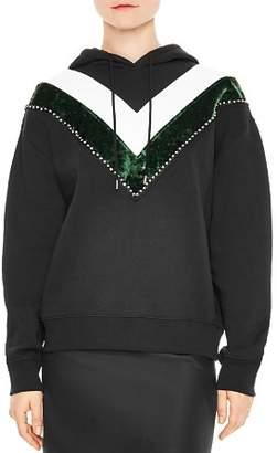Sandro Sable Studded Chevron Pattern Hoodie