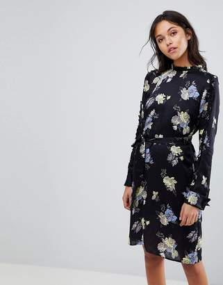 Gestuz Flower Printed Dress With Frill Neck