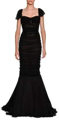 Dolce & Gabbana Sweetheart-Neck Ruched Tulle Trumpet Evening Gown