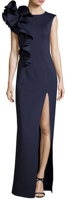 Jovani Sleeveless Ruffle-Trim Crepe Column Gown $650 thestylecure.com