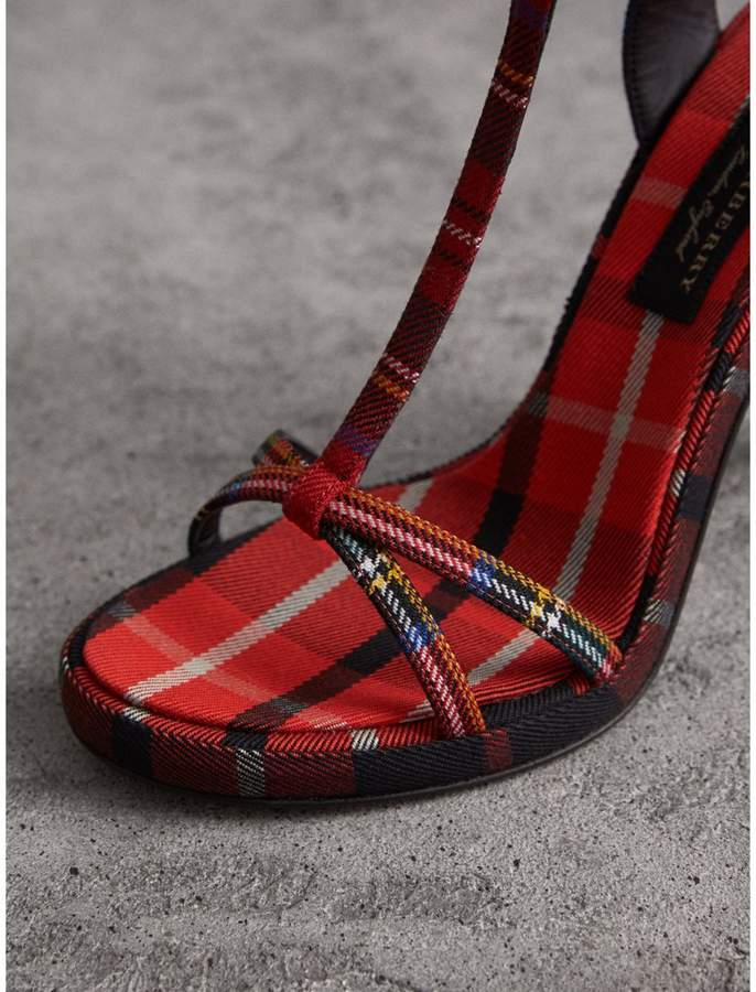 e9908870915 Burberry Tartan Wool High Cone-heel Sandals detail image