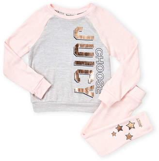 Juicy Couture Toddler Girls) Two-Piece Foil Raglan Fleece Pajama Set