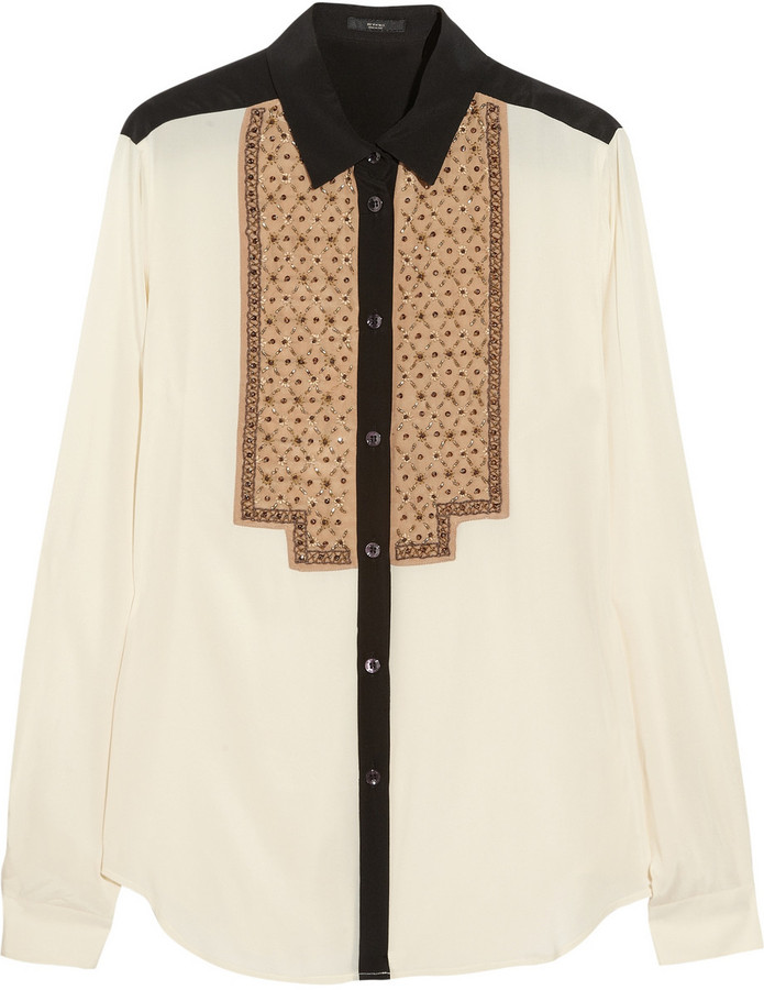 Etro Beaded stretch-silk blouse