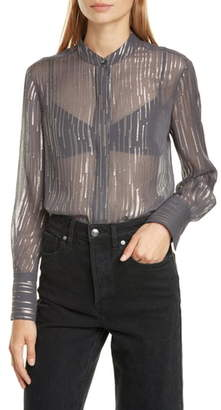 Equipment Jecinthe Sequin Detail Sheer Silk Chiffon Blouse