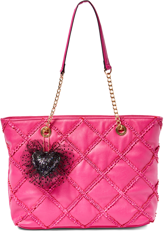 Betsey Johnson Fuchsia Heart Quilted Tote