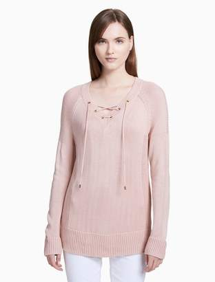 Calvin Klein v-neck lace-up sweater