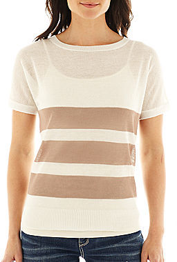 JCPenney a.n.a Short-Sleeve Striped Crewneck Sweater