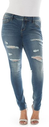 Plus Size Women's Slink Jeans Ripped Stretch Skinny Jeans $98 thestylecure.com