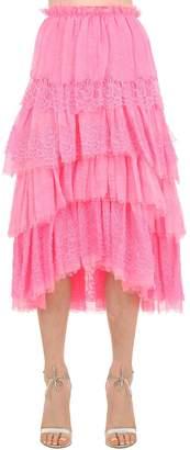 Ermanno Scervino Ruffled Lace Cotton & Linen Skirt