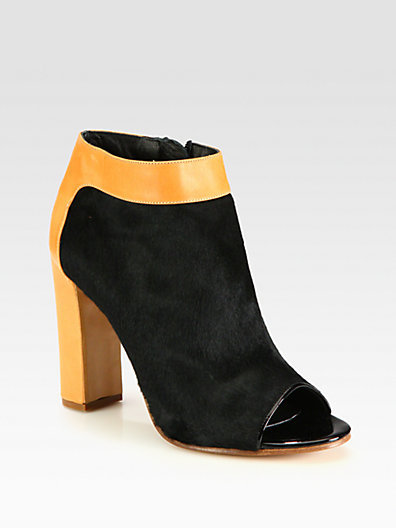 Chloé Pony Hair and Leather Ankle Boots