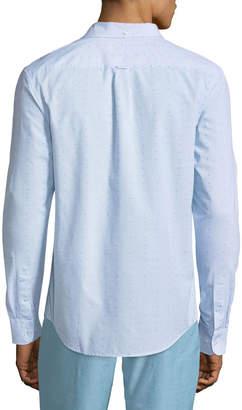 Original Penguin Men's Long-Sleeve Button-Down Clipped Dobby Shirt