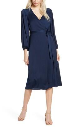 Ali & Jay Golden Days Long Sleeve Satin Wrap Midi Dress