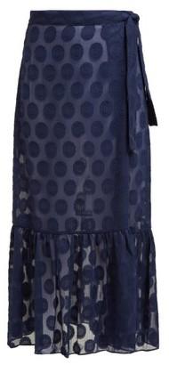Adriana Degreas Marine Polka Dot Wrap Skirt - Womens - Navy