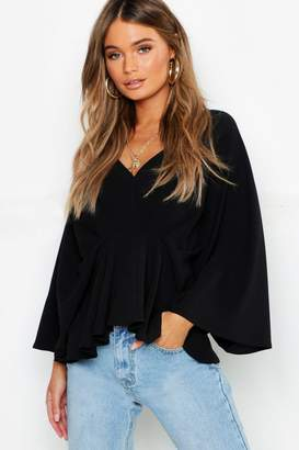 boohoo Pleat Front Batwing Blouse