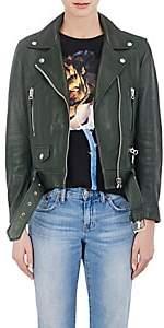 "Acne Studios Women's ""Mock"" Grained Leather Moto Jacket - Olive"