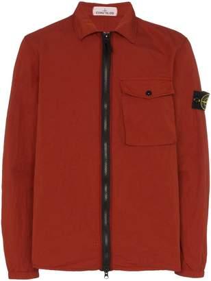Stone Island patch pocket zipped cotton blend jacket