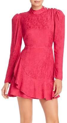 Rahi Medina Sophie Ruffled Floral Jacquard Mini Dress