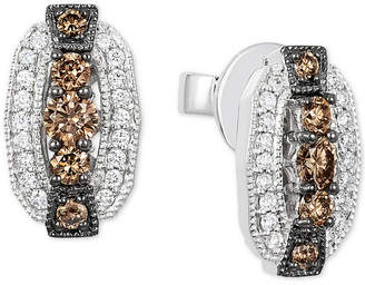 LeVian Le Vian Chocolatier® Diamond Oval Stud Earrings (1/2 ct. t.w.) in 14k White Gold