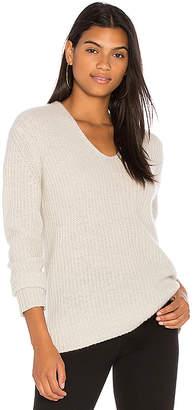 White + Warren Plush Rib V Neck Sweater