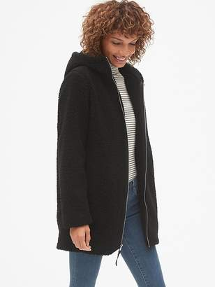 Gap Hooded Zip-Front Teddy Coat