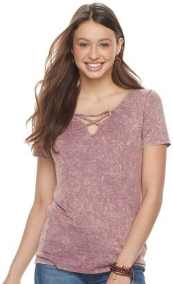 Mudd Juniors' Mineral Wash Lace-Up Tee