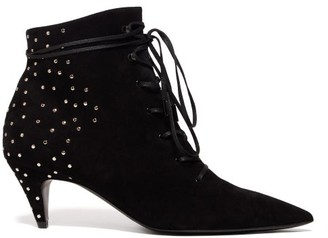 Saint Laurent Charlotte Studded Lace Up Suede Ankle Boots - Womens - Black
