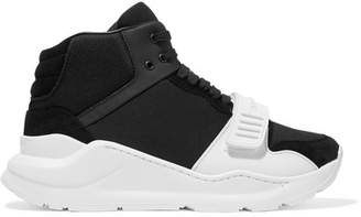 Burberry Rubber-trimmed Suede, Neoprene And Mesh High-top Sneakers - Black