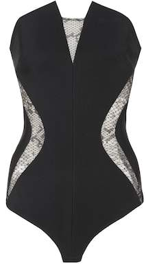 Lace-panelled jersey bodysuit