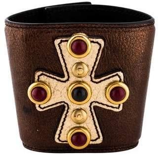 9476d8e0845 Saint Laurent Rive Garden Maltese Cross Leather Cuff