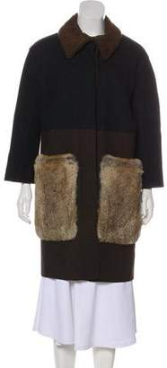 Hache Fur-Trimmed Wool Coat