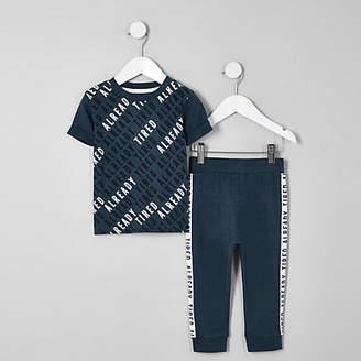 River Island Mini boys navy 'Already tired' pajama set