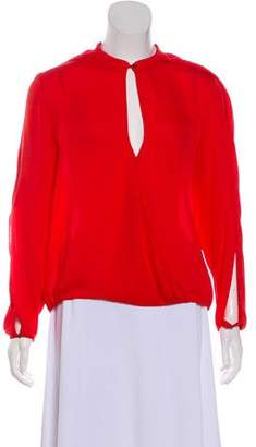 Halston Surplice Cutout Long Sleeves Blouse