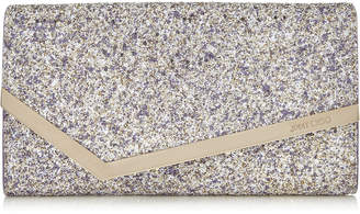 Jimmy Choo EMMIE Platinum Mix Painted Coarse Glitter Fabric Clutch Bag