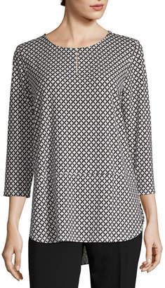 Liz Claiborne Studio Womens Keyhole Neck 3/4 Sleeve Tunic Top